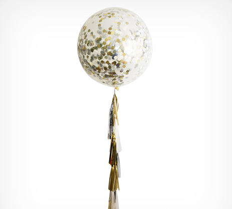 Gold, Silver and White Tassel, Confetti and Clear Jumbo Balloon Kit, 90cm