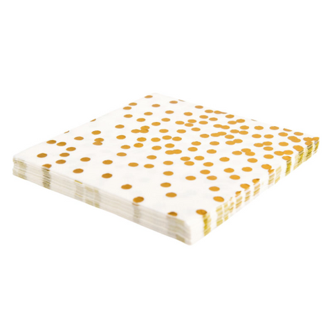 Gold Foil Confetti paper napkins pack of 20