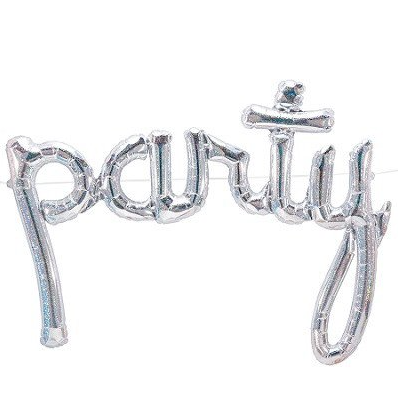 Holographic 'Party' Script Balloon, 112cm