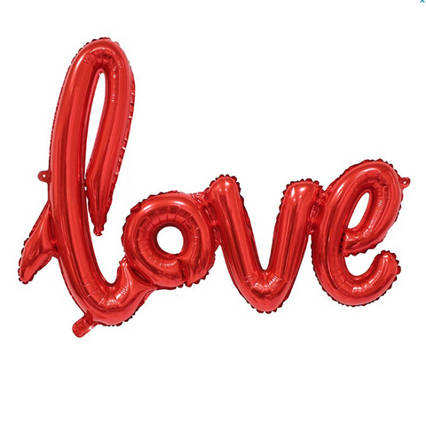 'Love' Script Metallic Red Foil Balloon, 102cm