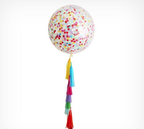 Multicoloured Tassel, Confetti and Clear Jumbo Balloon Kit, 90cm