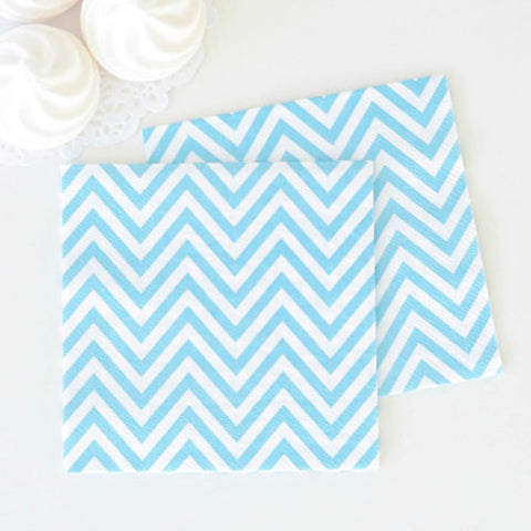 Pale Blue Chevron Paper Napkins 20 Pack