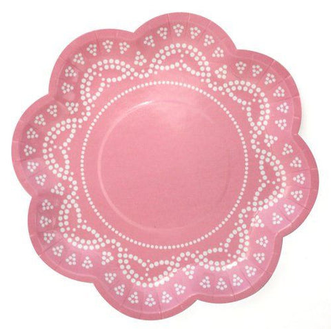 Lovely Lace Pastel Pink Paper Plates
