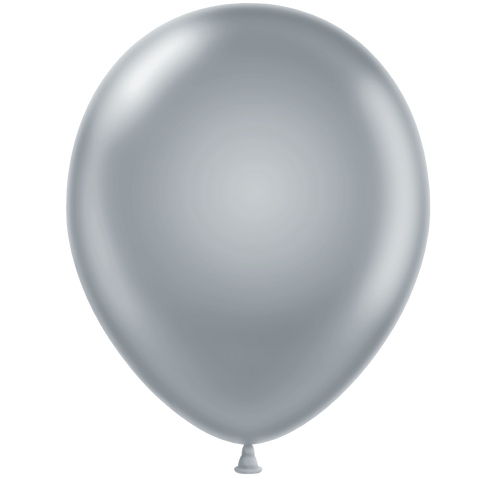 Pearl Silver Latex Balloon 28cm. Pack of 5