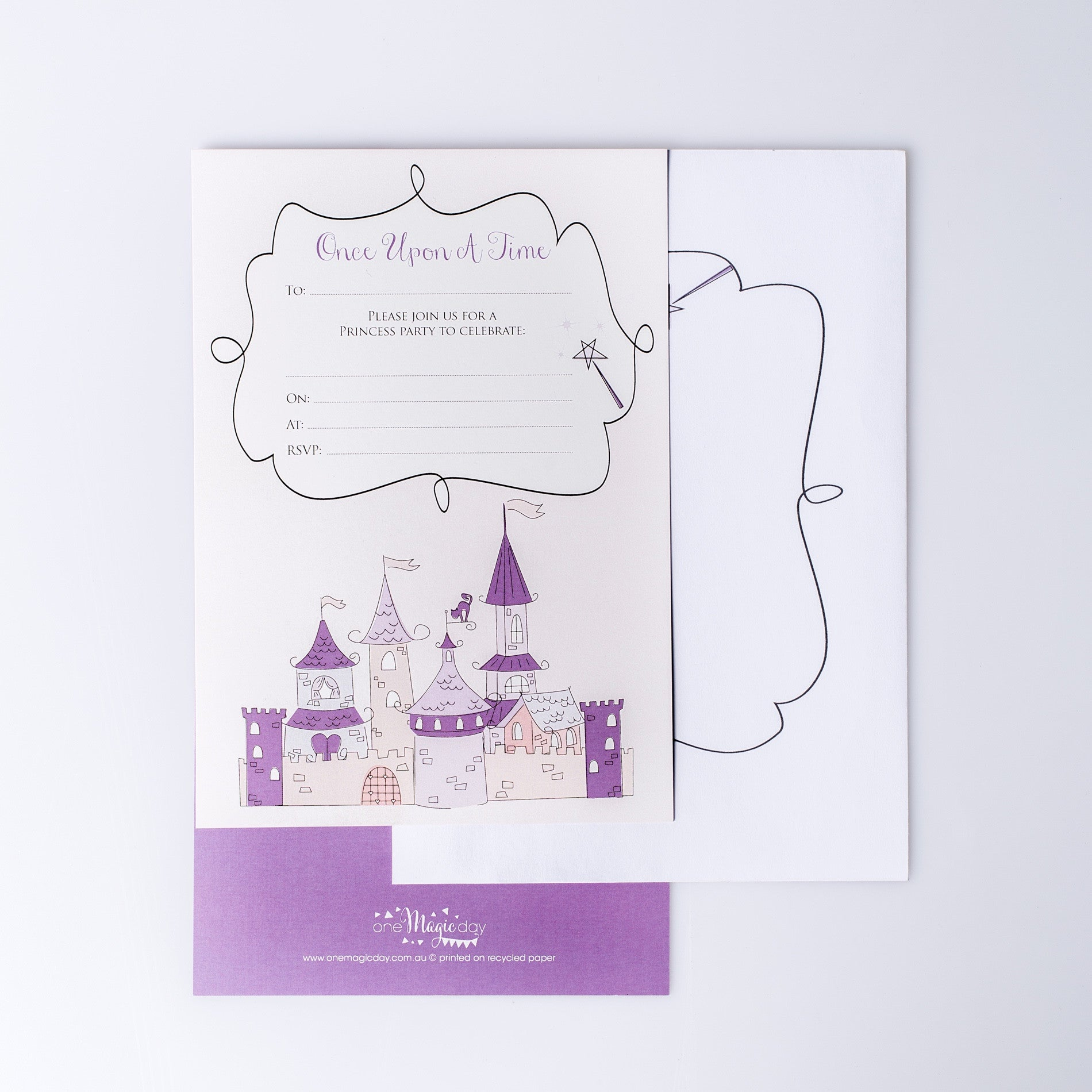 Princess Party Invitation + Envelopes (pack of 10) – One Magic Day