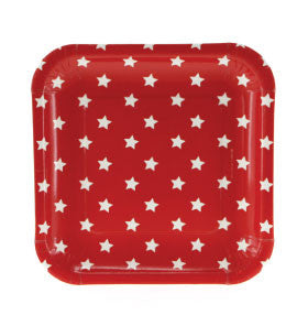 Red With White Stars Square Paper Plates