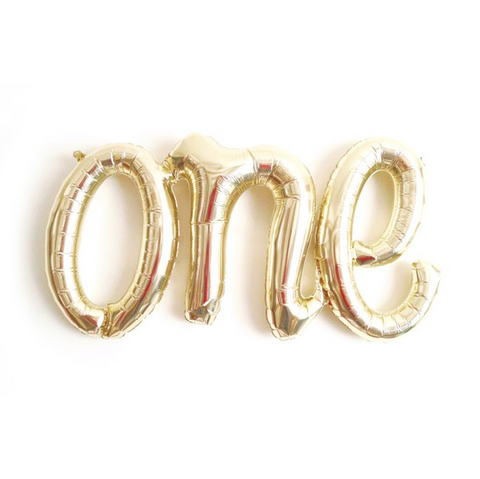 'One' Script Metallic Gold Foil Balloon, 76cm
