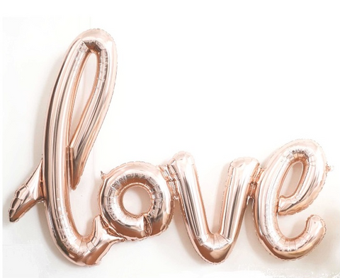 'Love' Script Metallic Rose Gold Foil Balloon, 102cm