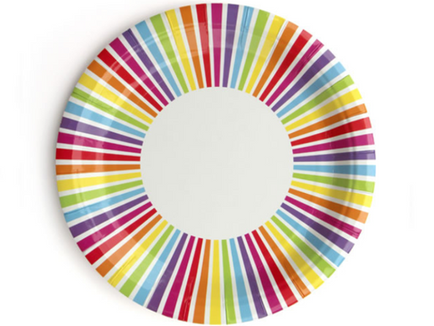 Rainbow Stripe Paper Plates, Pack of 10