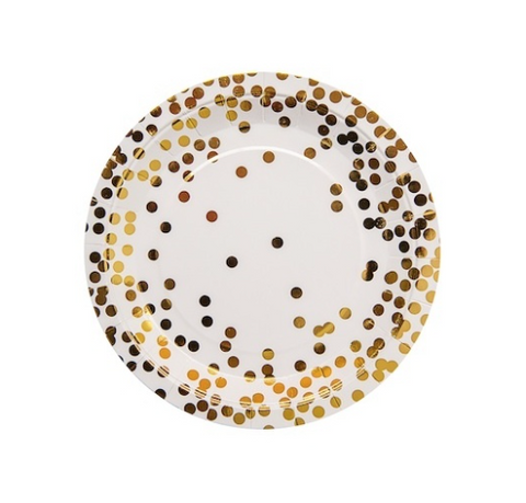 Gold Confetti Paper Plates (set of 10)