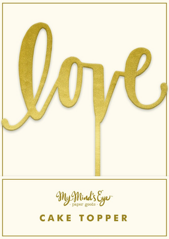 Love gold fancy cake topper