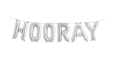 Silver 'HOORAY' Balloon Banner, 40cm high