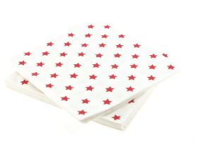 White With Red Stars Paper Napkin (pack of 20)