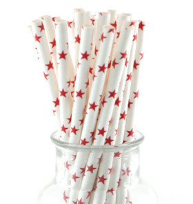 White With Red Star Paper Straws