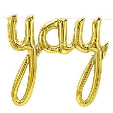 Yay script gold foil balloon, 114cm