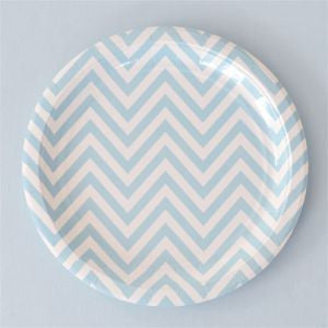 Pale Blue Chevron Paper Plates