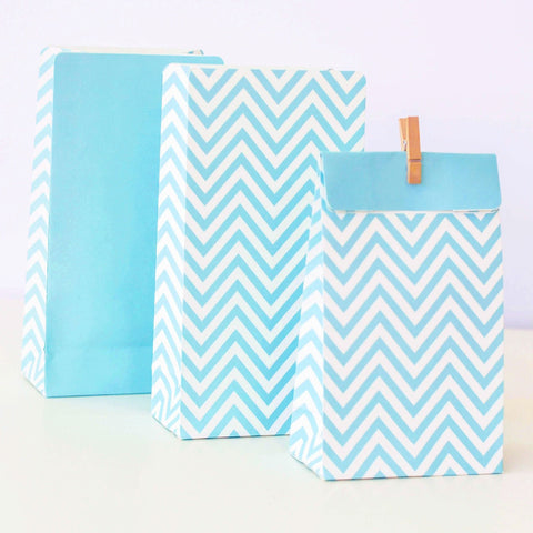 Pale Blue Chevron Lolly/Treat Bags