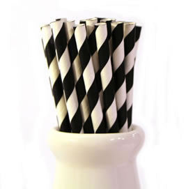 Black Striped Paper Straws (pack of 25)