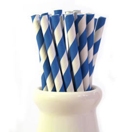 Blue Striped Paper Straws (pack of 25)