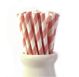 Pale Pink striped paper straws