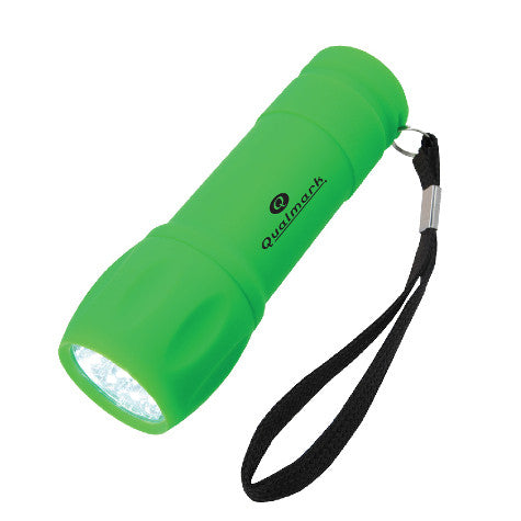 Green Rubberized Torch Light With Strap (Pack of 100)