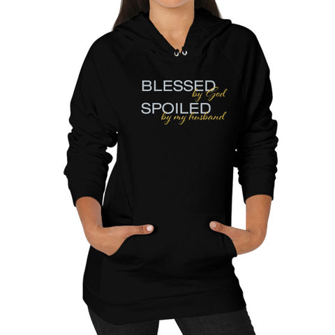 Blessed by God and Spoiled by My Husband Hoodie - Dressed Up Tee Shop  - 1