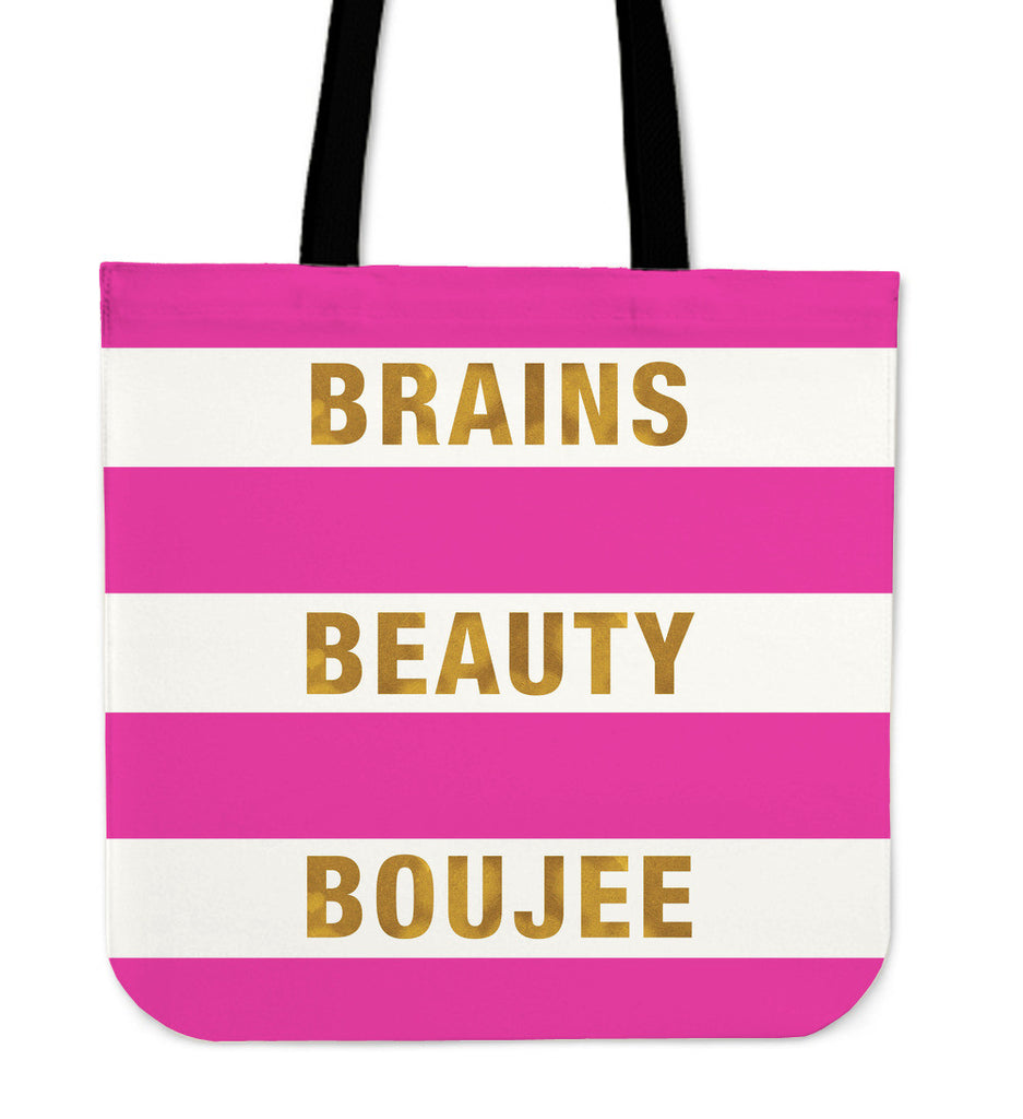 Brains Beauty Boujee Premium Linen Tote