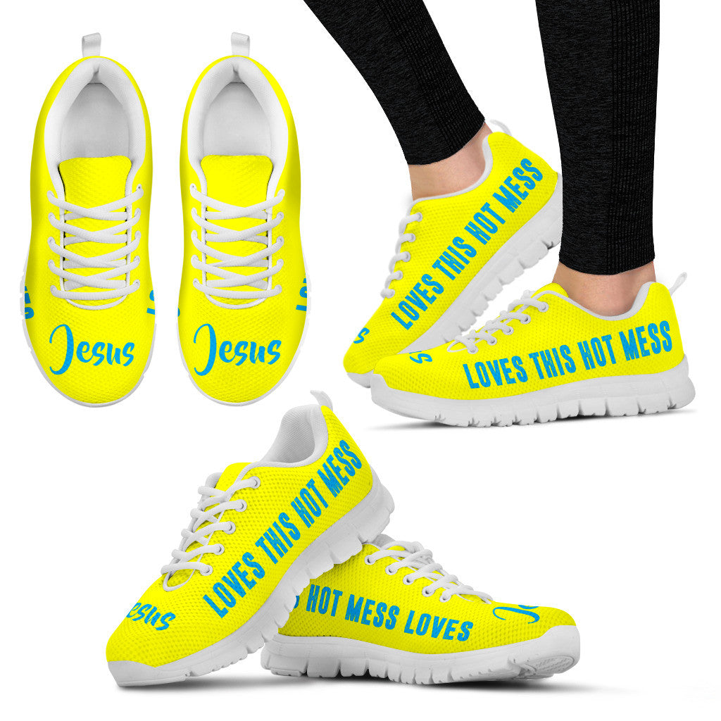Jesus Loves This Hot Mess Custom Printed Running Shoes Neon Yellow