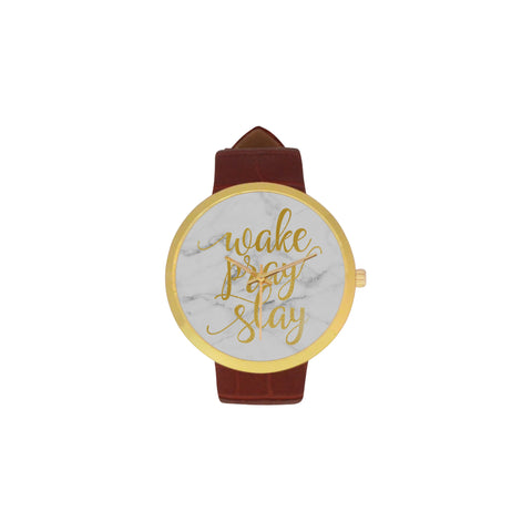 Wake Pray Slay Women's Golden Leather Strap Watch