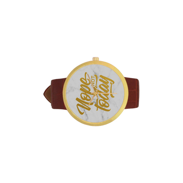 Nope Not Today Women's Golden Leather Strap Watch