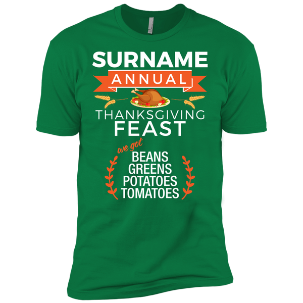 Custom Family Name Annual Thanksgiving Feast  (beans, greens, potatoes, tomatoes) Unisex Tee