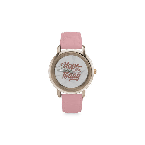 Nope Not Today Women's Rose Gold Leather Strap Watch