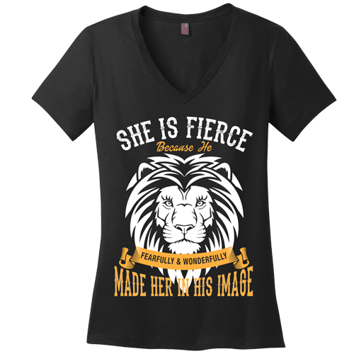 She is Fierce V-Neck Tee - Dressed Up Tee Shop  - 1