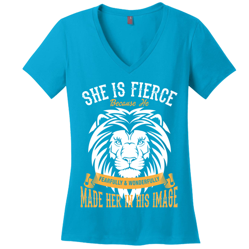 She is Fierce V-Neck Tee - Dressed Up Tee Shop  - 4