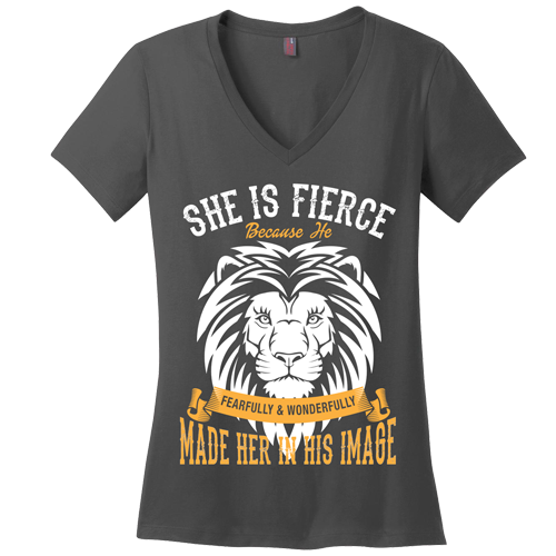 She is Fierce V-Neck Tee - Dressed Up Tee Shop  - 2
