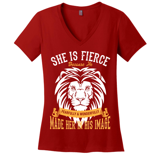 She is Fierce V-Neck Tee - Dressed Up Tee Shop  - 3