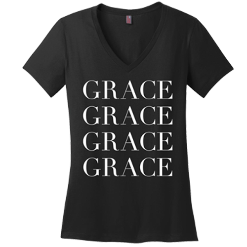 Grace Upon Grace V-neck Tee - Dressed Up Tee Shop  - 2