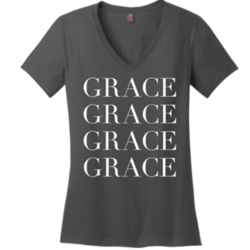 Grace Upon Grace V-neck Tee - Dressed Up Tee Shop  - 1