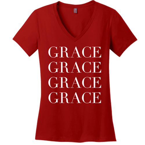 Grace Upon Grace V-neck Tee - Dressed Up Tee Shop  - 4
