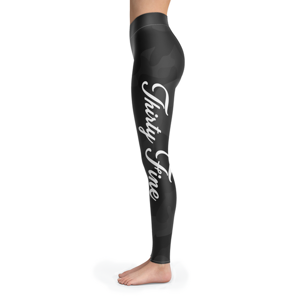 Black Camo Thirty Fine Custom Printed Leggings