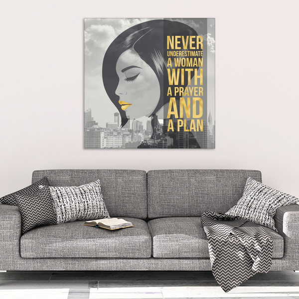 Never Underestimate A Woman With A Prayer And A Plan Canvas Wrap Wall Art (Wood Frame Ready To Hang)