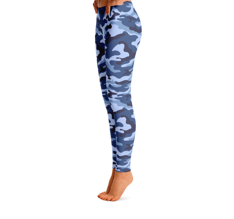 Blue Camo Print Leggings