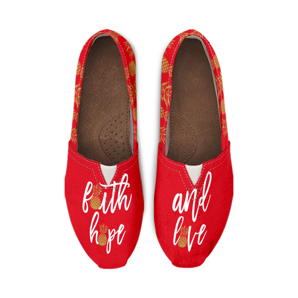 Faith, Hope, Love and Pineapples Custom Printed Casual Slip On Shoes