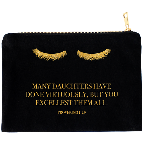 You Excellest Them All Proverbs 31:29 Black Cosmetic Bag