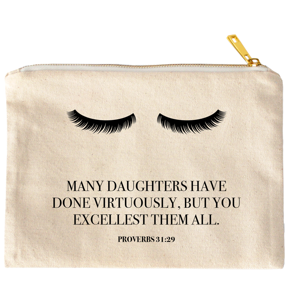 You Excellest Them All Proverbs 31:29 Canvas Cosmetic Bag