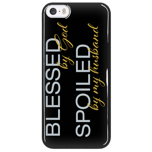 Blessed by God Spoiled by My Husband Phone Case - Dressed Up Tee Shop  - 5