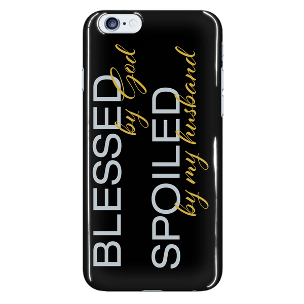 Blessed by God Spoiled by My Husband Phone Case - Dressed Up Tee Shop  - 7