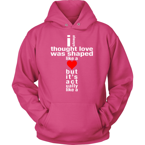 Love is Shaped Like a Cross Hoodie - Dressed Up Tee Shop  - 2