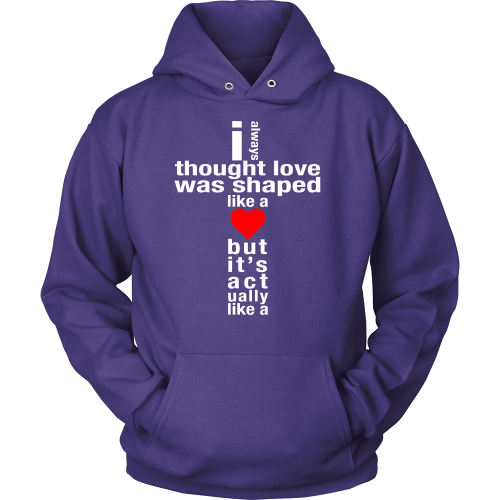 Love is Shaped Like a Cross Hoodie - Dressed Up Tee Shop  - 3