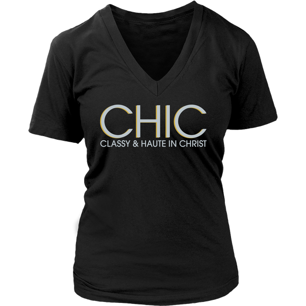 CHIC Classy & Haute in Christ Tee - Dressed Up Tee Shop  - 7